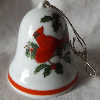 Porcelain Lefton Christmas Red Cardinal Bell Ornament Holly Berries 08304