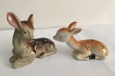 Two Vintage Porcelain Spotted Baby Deer Fawn Figurines Laying Down Japan