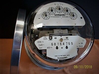 Sangamo, Form 12S, 240 volt, 200 amp, 3 Phase, 3 Wire Meter W/ Mounting Ring