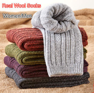 5 Pack Mens Womens Wool Cashmere Socks Thick Design Solid Warm Winter Multicolor