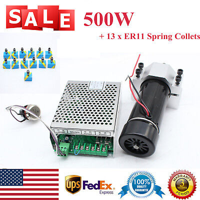 CNC Spindle Motor Air-Cooling Speed Governor w/ 13x ER11 Spring Collets 500W 4A