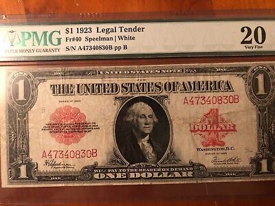 (99c) PMG VF20 1923 $1 ONE DOLLAR RED SEAL LEGAL TENDER UNITED STATES NOTE Fr.40