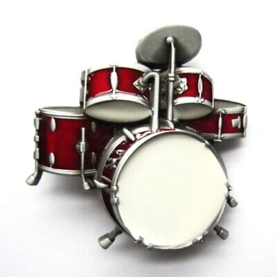 Red Music Drum Kit - red & antique brushed silver removable BELT BUCKLE - BP139