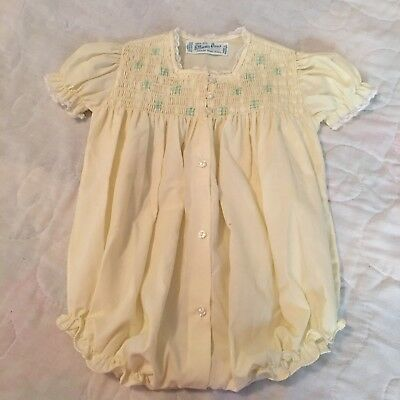 Vintage Feltman Brothers Hand Embroidered Baby Girl Yellow White Lace Bubble