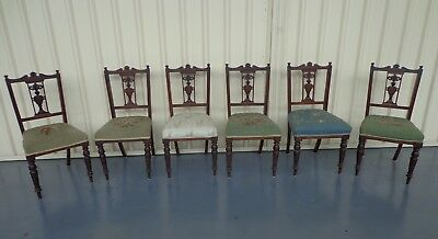 Edwardian Dining Chairs - Intricate Carving with turned legs matching set of 6