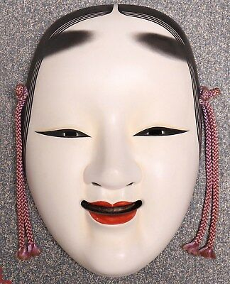 Japanese Vintage Ceramic Noh Mask Koomote Ornament Wall Decoration with Board