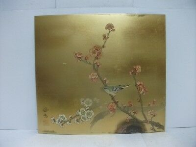 Pure gold, pure silver, a metal engraving product. plum and bush warble. HOUMEI