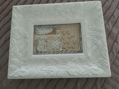 Framed Vintage Buttons Pearl Look And Plain Still On Cards  - Hang Or Stand :)