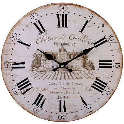 Large wine Wooden WALL CLOCK Vintage French Style Antique Shabby Chic Distressed