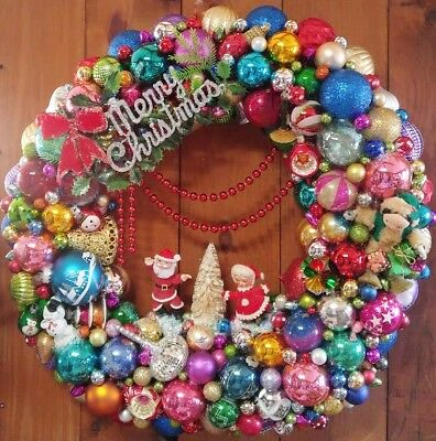 Ornament Wreath, Vintage Christmas Inspired, Kitsch, Kitschmas, MADE TO ORDER