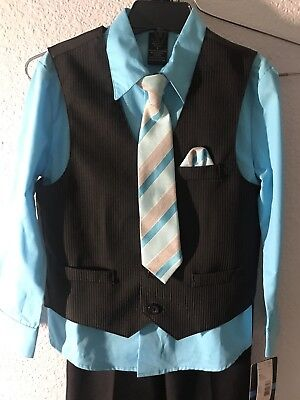 Boys Suit Size 5 4 Pc Set Blue Vest orchid aqua Easter Church NWT