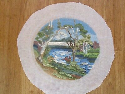 Completed Long Stitch Of A Creek & Bridge 27Cms High X 27Cms Wide