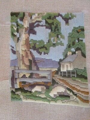 Completed Long Stitch Of Gum Tree Cottage & Fence 19.5Cms High X 16.5Cms Wide
