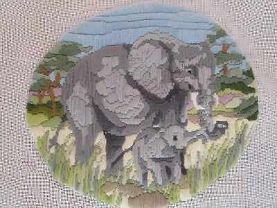 Semco Almost Completed Long Stitch  Of Elephant & Baby  26 Cms High 29Cms Wide
