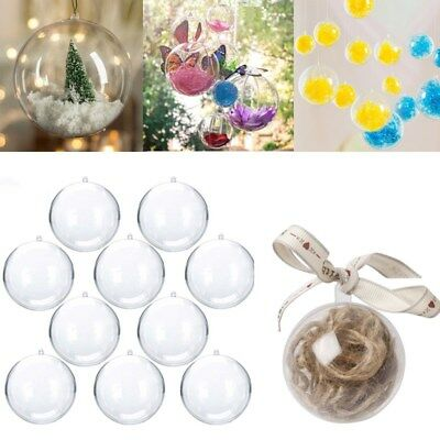 5 x Clear Fillable Christmas Tree Gift Ball Plastic Baubles Transparent Ornament