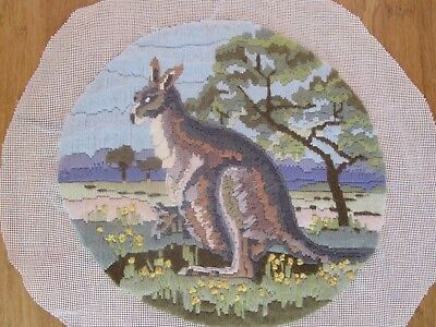 Semco Completed Long Stitch  Of Kangaroo & Joey 28Cms High 29.5 Wide