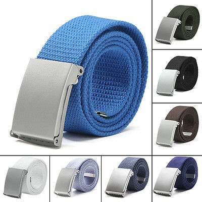 Men's Outdoor Sports Military Tactical Nylon Waistband Canvas Belt Metal Buckle