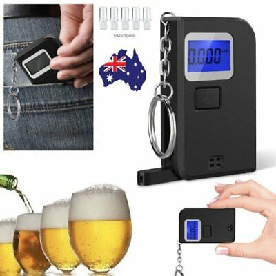 Mini LCD Police Digital Breath Alcohol Tester Breathalyzer Keychain + Mouthpiece