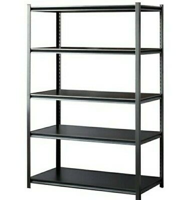 Shop Rack 5 Shelf Heavy Duty Shelving 48 x 24 x 72 Garage Storage Steel Silver