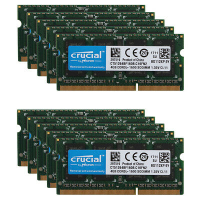 Tested RAM Crucial 8GB DDR3L 1600 Mhz 2Rx8 PC3L-12800S SO-DIMM Laptop Memory /&8H