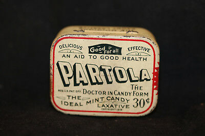 Vintage Medicine Tin box PARTOLA Antiseptic Candy Laxative with pills c.1919 old