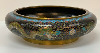 "Cloisonne Antique Bowl Chinese 19th Century Dragon Large 10"" diameter"