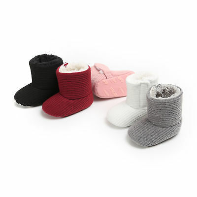 UK Toddler Baby Girl Boy Boots Soft Booties Shoes Cotton Winter Snow Slippers