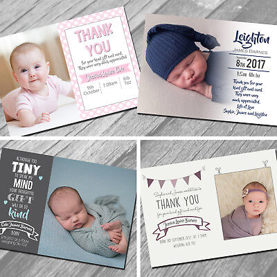 Personalised New Baby Thank You Cards, Birth Announcement, Girl or Boy