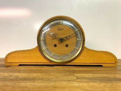 Vintage Urgos Wooden Mantel Clock Made In Germany