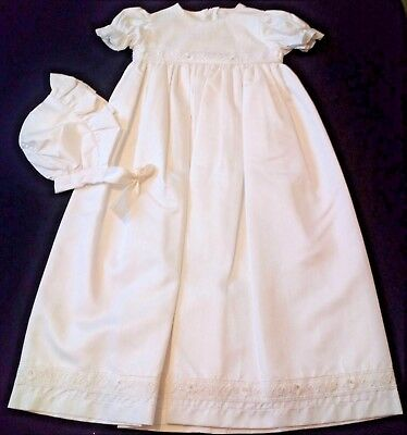 fabulous ivory silk effect christening gown floral lace trim with bonnet 0-3m