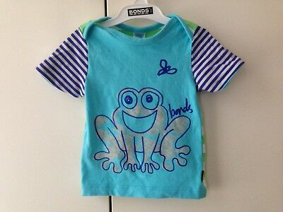 BONDS VINTAGE Frog Blue Green Stripes Top Tee Tshirt Baby SIZE 0 Rare Unicorn