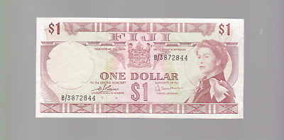 1974 $1 ONE DOLLAR FIJI YOUNG QUEEN BARNES EARLAND NOTE Banknote W-285