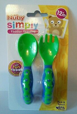 Nuby Simply Toddler Training Fork and Spoon Baby Cutlery Set New Sealed 12m+