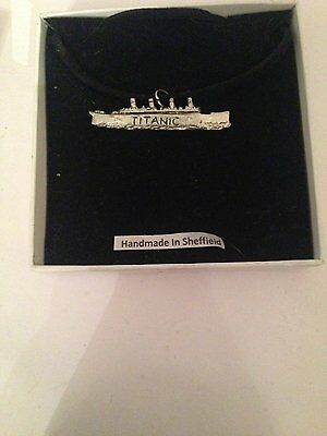 Titanic PP-T21 Motif Pewter  PENDENT ON A  BLACK CORD  Necklace