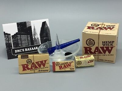 Top Shelf Kit Ft. a Glass Debowler Ashtray, Raw Rolling Papers Roll, Tips & Wick