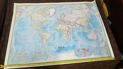 "HUGE 68"" x 48"" 1975 POLITICAL WORLD WALL MAP National Geographic LARGE"