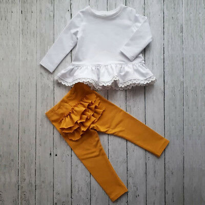 Toddler Kids Baby Girls Ruffle Lace Tops Pants Leggings 2Pcs Set Outfits Clothes
