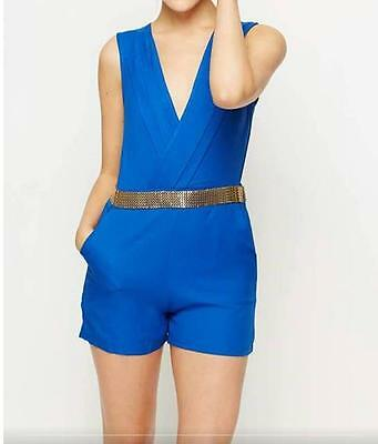 Womens Girls Gorgeous Gold Trim Playsuit Jumpsuit Shorts All In One Blue Size 10