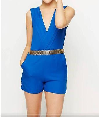 Womens Girls Gorgeous Gold Trim Playsuit Jumpsuit Shorts All In One Blue Size 8