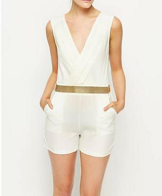 Womens Girls Gold Trim Playsuit Jumpsuit Shorts All In One Cream Size 8