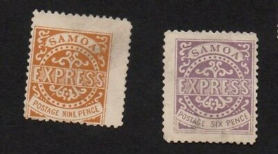SAMOA EXPRESS 9 PENCE and 6 PENCE STAMPS (REPRINTS ??)