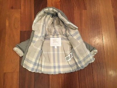 Boy Girl Unisex BURBERRY Grey Winter Coat Size 3m