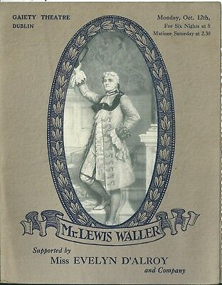 Programme Gaiety theatre 1914 Monsieur Beaucaire Lewis Waller Evelyn D'Alroy