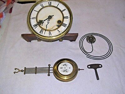 CLOCK  PARTS , MOVEMENT ,FACE, HANDS, PEN &KEY b