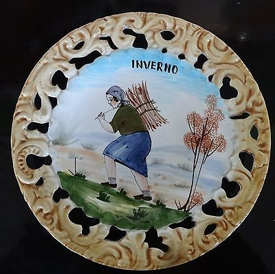 VINTAGE BASSANO made in ITALY hand painted INVERNO ceramic pottery wall plate