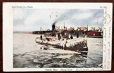 "DULUTH, MINNESOTA: Tugboat ""Major Dana"" Covered with Ice, Harbor View, 1907 pmk"