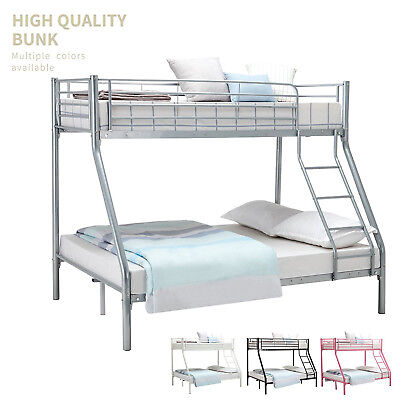 Triple Sleeper Metal Bunk Bed Frame 3FT Single 4FT6 Double for Twins Adult Kids