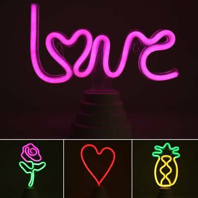 AU LED Neon Sign Night Light Wall Desk Home Bar Club Decor Background Lamp Gifts