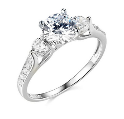2.25 Ct Round Cut 3-Stone Engagement & Wedding Ring Solid 14K White Gold Over