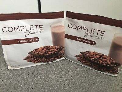 JUICE PLUS CHOCOALTE SHAKE POUCHES X2 *OPENED* Expire 08/19, Few Scoops Out